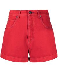 M Missoni Red Denim Shorts With Logo Embroidery
