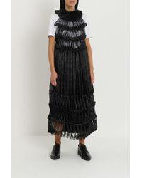 Noir Kei Ninomiya Pleated Ribbon-detail Crepe Midi Dress - Black
