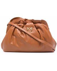 Pinko Mini Chain Leather Handbag With Logo - Brown