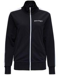 Palm Angels Black Track Sweatshirt With Logo