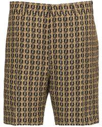 Fendi Gabardine Ff Shorts - Natural