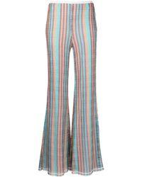 M Missoni Pantaloni a Zampa a Righe Multicolor - Blu