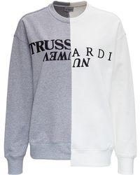 Trussardi Bicolor Jersey Sweatshirt With Logo - Multicolour