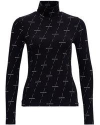 Balenciaga Maglia a Collo Alto Diagonal con Logo Allover - Nero