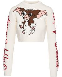 Gcds Gremlins Crop Sweater - White