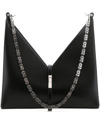 Givenchy Leather Small Cut Out Shoulder Bag Donna - Black