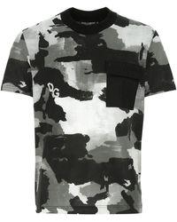 Dolce & Gabbana - Printed Cotton Blend T-shirt Nd Uomo - Lyst