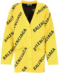 Balenciaga Embroidered Stretch Cotton Blend Oversize Cardigan Nd - Yellow