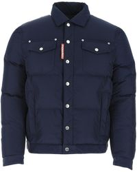 DSquared² Navy Polyester Down Jacket - Blue