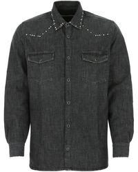 Golden Goose Dark Grey Denim Shirt Nd Uomo
