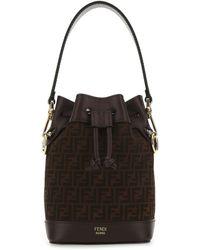 Fendi Leather Mini Mon Tresor Bucket Bag Donna - Black