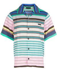 Prada Printed Pongè Shirt Nd Uomo - Blue