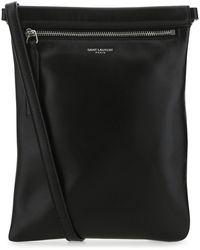 Saint Laurent Black Nappa Leather Flat Sid Shoulder Bag Nd Uomo