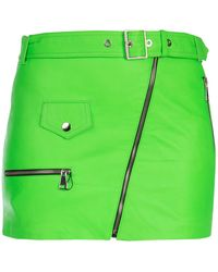 Manokhi Fluo Green Leather Mini Skirt Nd Donna