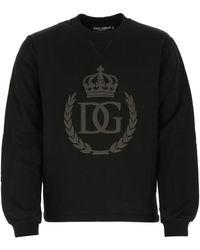 Dolce & Gabbana Black Cotton Sweatshirt Nd Uomo