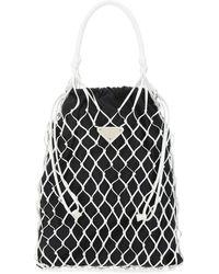 Prada Two-tone Nappa Leather And Fabric Hobo Shoulder Bag - Black