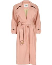 Nanushka Pink Synthetic Leather Amal Trench Coat Nd