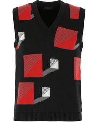 Prada Embroidered Wool Vest - Black