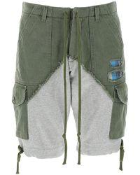 Greg Lauren Two-tone Cotton Bermuda Shorts Nd Uomo - Multicolour