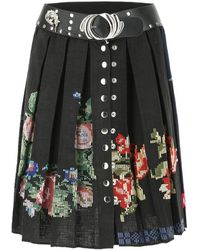 Chopova Lowena Two-tone Cotton And Wool Skirt M - Black