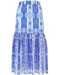 Jessie Western Printed Cotton Skirt - Blue