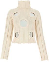 Area Ivory Cotton Blend Jumper Nd - White