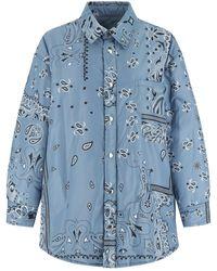 Khrisjoy Polyester Puff Bandana Oversize Padded Shirt 1 - Blue