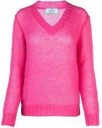Prada Fuchsia Mohair Blend Jumper Nd - Pink