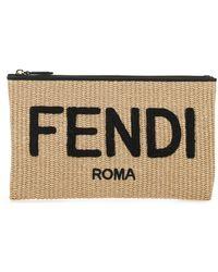 Fendi Raffia Media Clutch - Natural