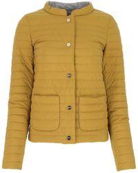 Herno Mustard Nylon Reversible Down Jacket Donna - Multicolour