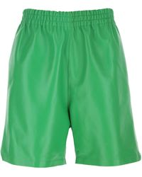 Bottega Veneta Grass Green Nappa Leather Bermuda Shorts