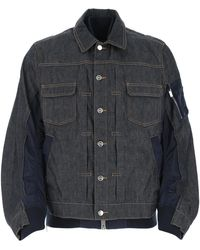 A.P.C. Dark Denim And Nylon Jacket Uomo - Blue
