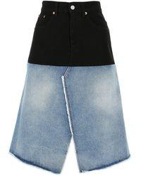MM6 by Maison Martin Margiela Two-tone Denim Skirt Donna - Blue