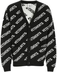 Vetements Embroidered Cotton Blend Cardigan Uomo - Black