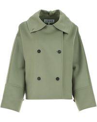 Loewe Sage Wool Blend Coat Donna - Green