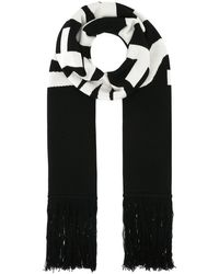 Vetements Embroidered Wool Scarf - Black