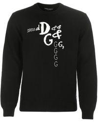 Dolce & Gabbana Black Wool Blend Jumper Nd Uomo