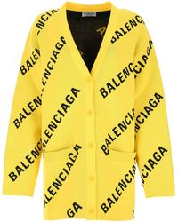 Balenciaga Embroidered Stretch Cotton Blend Oversize Cardigan Donna - Yellow