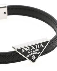 Prada Leather Bracelet Uomo - Black