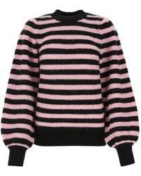 Ganni Two-tone Stretch Alpaca Wool Blend Sweater - Multicolor
