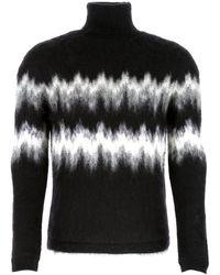 Saint Laurent Black Mohair Blend Sweater Nd Uomo