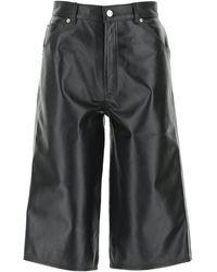 Manokhi Leather Melinda Bermuda Shorts 36f - Black