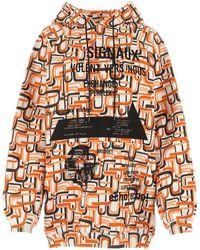 Prada Printed Cotton Oversize Sweatshirt - Orange