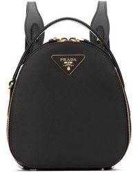 Prada Black Leather Odette Backpack Nd