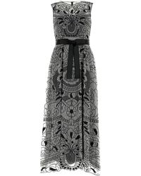 RED Valentino Embroidered Tulle Dress - Black