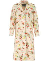 Prada Wool Blend Overcoat Donna - Multicolor