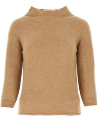 Max Mara Biscuit Wool Blend Campo Sweater Donna - Natural