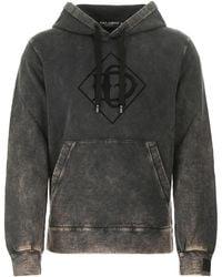 Dolce & Gabbana Charcoal Cotton Sweatshirt Uomo - Gray