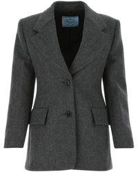 Prada Melange Dark Grey Wool Blazer Nd