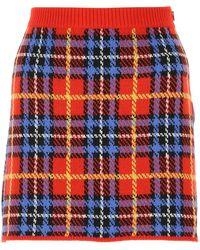Miu Miu Embroidered Wool Mini Skirt Donna - Multicolor
